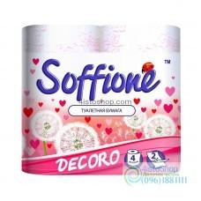 Туалетная бумага Soffione Decoro розовая 4 рулона