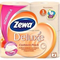Туалетная бумага Zewa Deluxe трехслойная аромат Персик  4 рулона