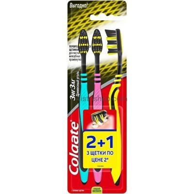 Зубные щетки Colgate ЗигЗаг Древесный уголь