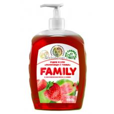 Жидкое мыло Family Клубника и гуава с увлажняющим рисовой маслом 500мл
