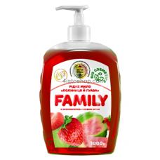Жидкое мыло Family Клубника и гуава с увлажняющим рисовой маслом 1000мл
