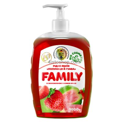 Жидкое мыло Family Клубника и гуава 1000мл