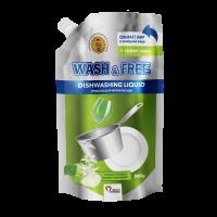 Средство для мытья посуды Wash Free зеленое яблоко и экстракт эдельвейса 500г