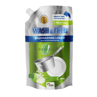 Средство для мытья посуды Wash Free зеленое яблоко и экстракт эдельвейса 500мл
