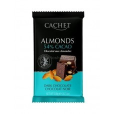 CACHET Dark 53% Chocolate with Almonds тёмный с миндалём 300 г