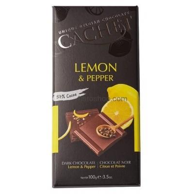 Шоколад черный 57% какао с лимоном и перцем CACHET