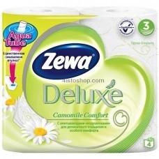 Туалетная бумага Zewa Deluxe трехслойная 4 рулонов аромат Ромашки