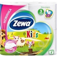 Туалетная бумага Zewa Kids трехслойная 4 рулона
