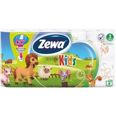 Туалетная бумага Zewa Kids трехслойная 8 рулона