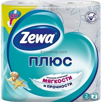 Туалетная бумага 4 рулона Zewa Плюс Свежесть океана  двухслойная