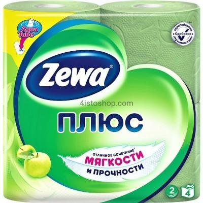 Туалетная бумага 4 рулона Zewa Плюс аромат яблока    двухслойная