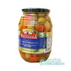 Оливки Maestranza aceituna gazpacha зеленые с косточкой и овощами 950 г