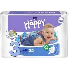 Подгузники Bella Happy Midi 3 от 5 до 9 кг в упаковке 32 шт