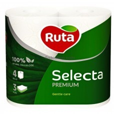 Туалетная бумага Ruta Selecta 3 слоя 4 рулонов Белая