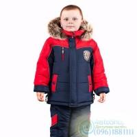 Зимний полукомбинезон и чёрная куртка с красной вставкой Север рост от 92 до 110 см