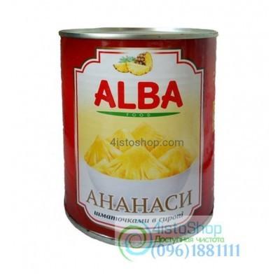 Ананас кусочками Alba Food в сиропе 580мл