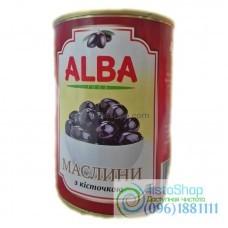 Черные оливки с косточкой Alba Food 340г