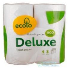 Туалетная бумага Ecolo Deluxe 3 слоя 4 рулона