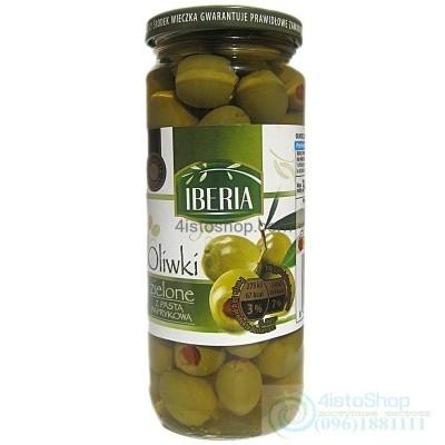 Оливки зелёные фаршированные паприкой IBERIA 340 г