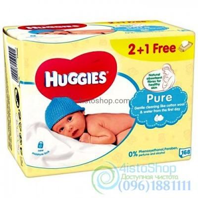 Влажные салфетки 2+1 Huggies Pure 168 шт