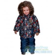 Зимний синий полукомбинезон и разноцветная куртка рост от 92 до 110 см