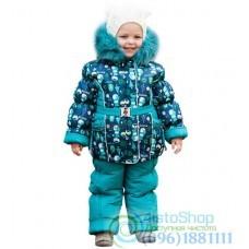 Зимний полукомбинизон бирюзового цвета и куртка рост от 92 до 110 см