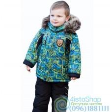 Зимний чёрный полукомбинезон и разноцветная куртка с рисунком рост от 92 до 110 см