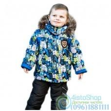 Зимний чёрный полукомбинезон и разноцветная куртка с принтом Тедди на рост от 92 до 110 см