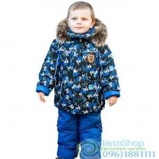Зимний полукомбинезон и чёрная куртка с рисунком Скейтбординг рост от 92 до 110 см