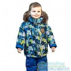 Зимний синий полукомбинезон и разноцветная куртка с принтом на рост от 92 до 110 см