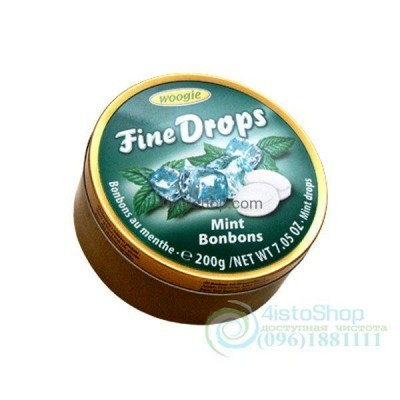 Леденцы Woogie Fine Drops Mint Bonbons со вкусом мяты 200 г