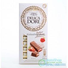 Шоколад молочный Delicadore Йогурт клубника 200г