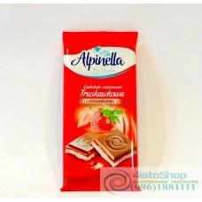 Шоколад молочный Alpinella клубника 90г