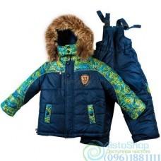 Зимний тёмно-синий синий комбинезон и комбинированная куртка с рисунком рост от 92 до 110 см