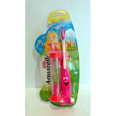 Детская зубная щетка Aquarelle песочные часы розовая
