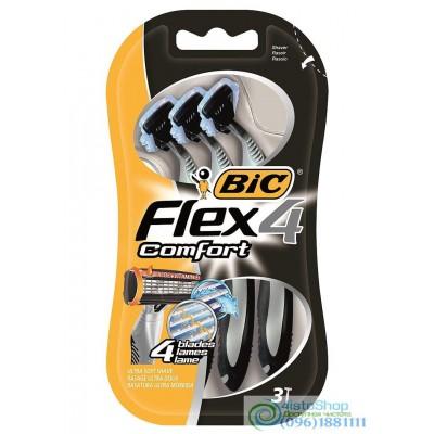 Набор одноразовых бритвенных станков Bic 4 Flex Comfort 3 шт.