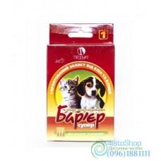 Барьер Супер 1 капли на холку от блох и клещей для щенков и котят 3 пипетки