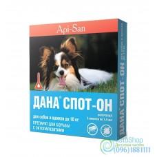 Капли на холку для собак и щенков до 10кг Дана Спот-Он от блох и клещей 1,5мл