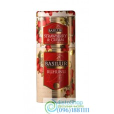 Чай черный Basilur Рухуну и Клубника 2в1 125г